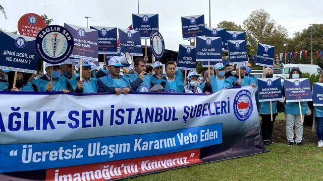 Sağlık çalışanlarından İBB Başkanı Ekrem İmamoğlu'na kırmızı kart