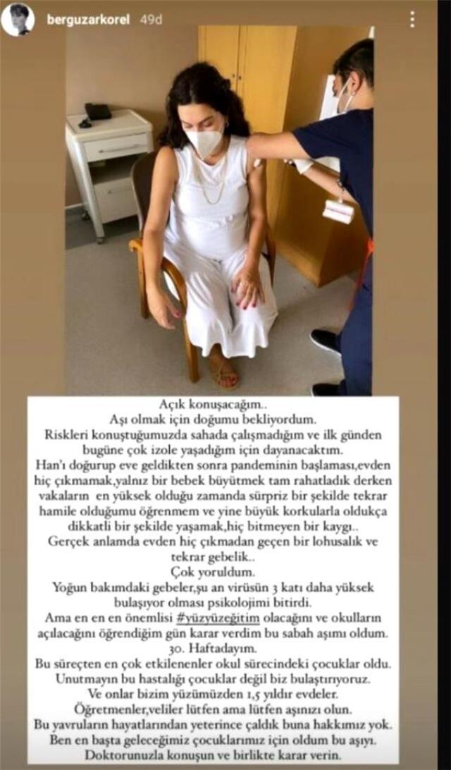 8 aylık hamile Bergüzar Korel, ikinci doz aşısını yaptırdı
