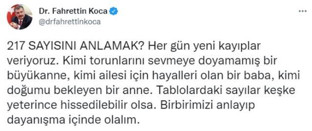 Son Dakika: Türkiye'de 7 Ekim günü koronavirüs nedeniyle 217 kişi vefat etti, 30 bin 19 yeni vaka tespit edildi
