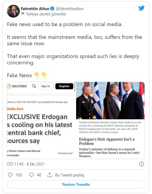 Reuters'ın Merkez Bankası Başkanı Kavcıoğlu'yla ilgili iddiasına İletişim Başkanı Altun'dan yalanlama