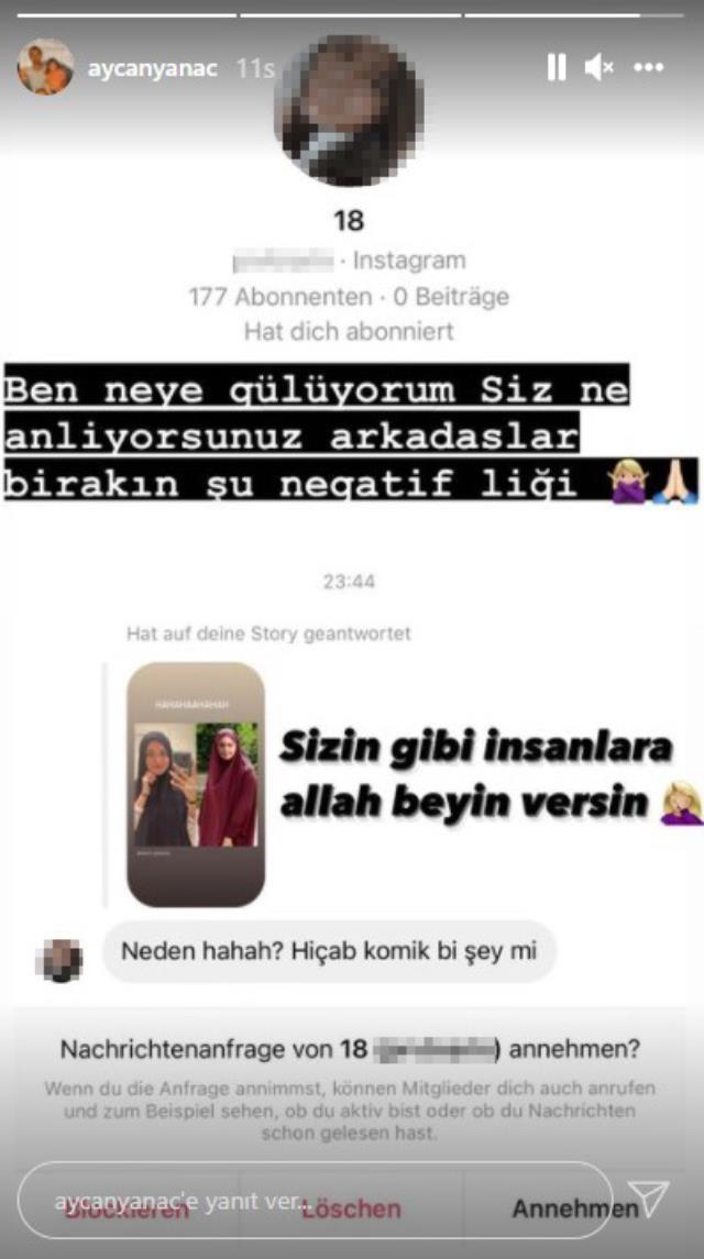 Başörtülü pozunu paylaşan Aycan Yanaç, kendisini eleştiren takipçisini ifşa etti