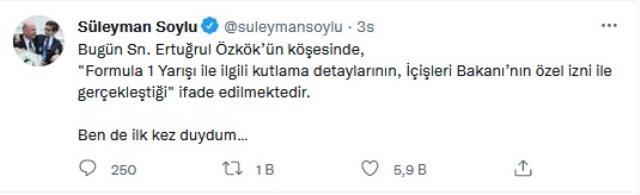 Bakan Soylu, F1'deki şampanya izni iddialarını yalanladı: Ben de ilk kez duydum