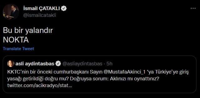 İçişleri Bakanlığı'ndan Mustafa Akıncı iddiasına yanıt: Yalandır, nokta