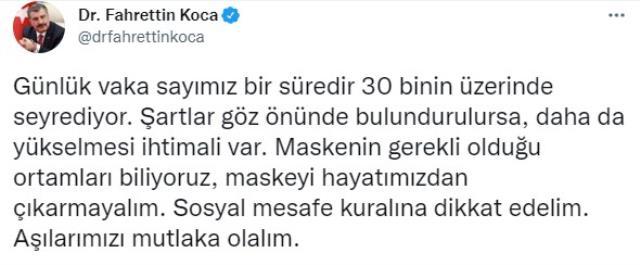 Son Dakika: Türkiye'de 14 Ekim günü koronavirüs nedeniyle 203 kişi vefat etti, 30 bin 709 yeni vaka tespit edildi