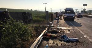 Bayram sabahı feci kaza! Otobüs devrildi: 1 ölü, 40'dan fazla yaralı