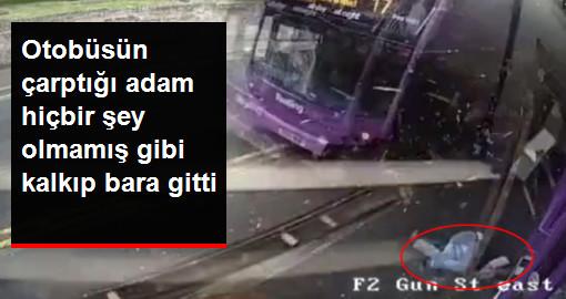 Yolcu Otobüsünün Çarptığı Adam, Hiçbir Şey Olmamış Gibi Kalkıp Bara Gitti