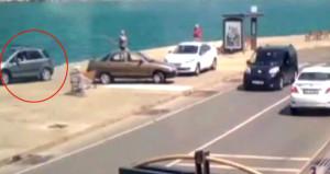 Otomobil bir anda denize uçtu, kameralar saniye saniye kaydetti!
