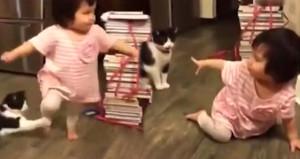 İki minnoş, koskoca eve sığamadı! Kedi, bebeğe çelme taktı