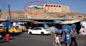 Referandum öncesi Kerkük Kalesi'ne bayrak astılar