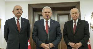 TBMM'de üçlü zirve! Başbakan, CHP ve MHP liderleriyle görüştü