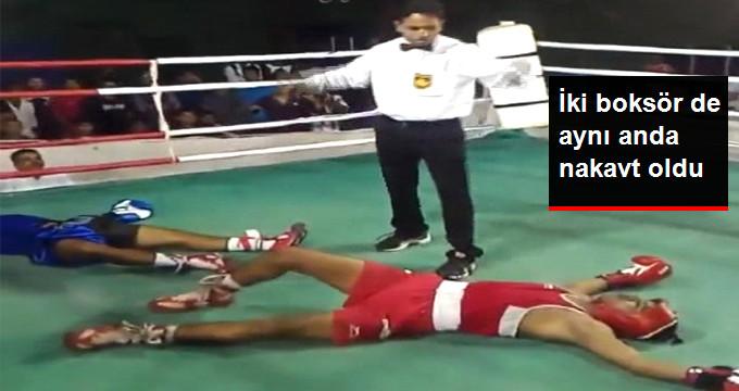 İki boksör de aynı anda nakavt oldu