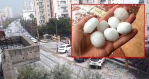 Mersin'e yumurta büyüklüğünde dolu yağdı, hayat felç oldu!
