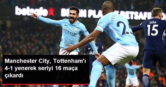 Manchester City, Tottenham ı 4-1 yenerek seriyi 16 maça çıkardı