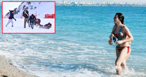 Turizm cennetinde bir saatte hem deniz hem kayak keyfi