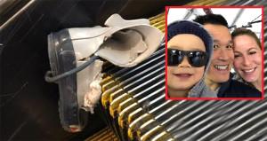 Havaalanında ürküten görüntü! Talihsiz çocuk yürüyen merdivene sıkıştı