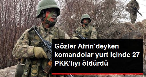 Gözler Afrin'deyken Komandolar Yurt İçinde 27 PKK'lıyı Öldürdü