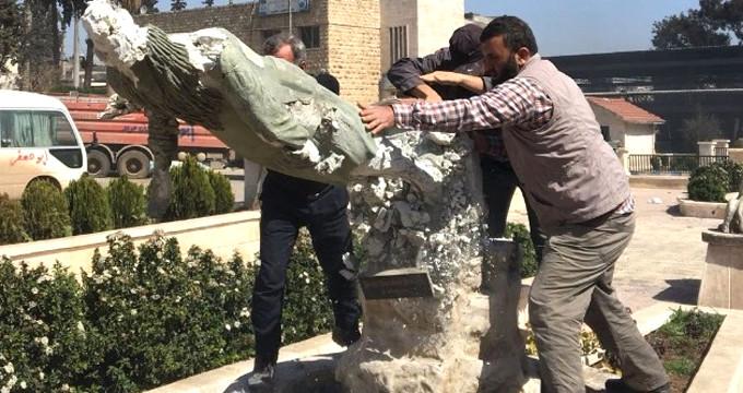Afrin'de PKK tarafından dikilen Kawa heykelleri bir bir yıkılıyor!