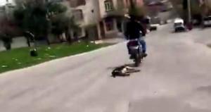 Motosiklete bağladığı köpeği metrelerce sürükledi! O anlar kamerada