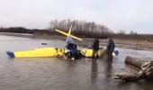 İki kişiye mezar olan uçağın nehre çakıldığı anlar kamerada