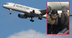 Uçaktan inmek istemeyen yolcuya şok tabancalı müdahale kameralarda