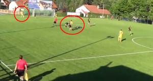 Rakiplerinin çarpıştığını gören futbolcu, boş kaleye gol atmadı