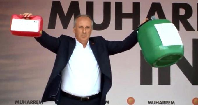 Türk siyasetinde bir ilk! İnce mitinge bidon ve bebek beziyle çıktı