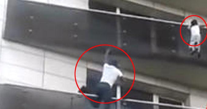 Herkes baktı, o balkondan sarkan çocuğu 4. kata tırmanarak kurtardı