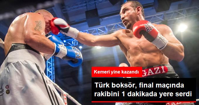 Türk boksör, final maçında rakibini 1 dakikada yere serdi
