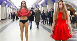 Rus öğrenciden ilginç protesto! Metroda eteğini kaldırıp isyan etti