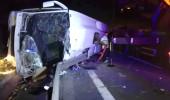 TEM'de feci kaza! Teknofest'e giden öğrencileri taşıyan otobüs devrildi