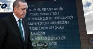 Erdoğana mektubunu 8 katlı binaya boylu boyunca yazdı