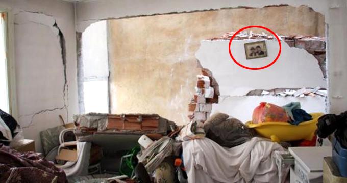 Harabeye dönen evde 3 kişi ölümden döndü, duvardaki fotoğraf düşmedi