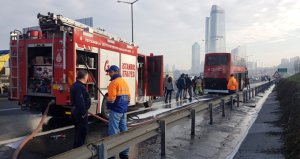 İstanbulda korkutan otobüs yangını! Kahraman şoför faciayı önledi