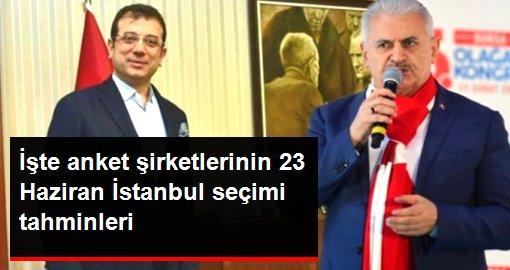 İşte anket şirketlerinin 23 Haziran İstanbul seçimi tahminleri
