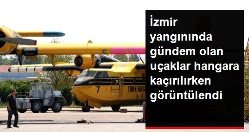 THK, kullanılmayan uçakları hangara kaçırırken kameraya yakalandı