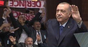 Konuşmaya damga vuran marş! Erdoğan böyle dinledi