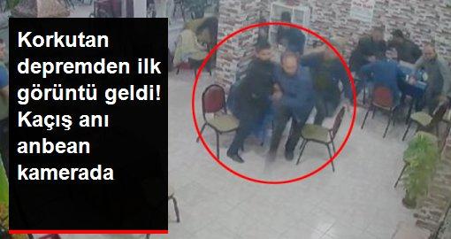 Balıkesir'deki depremde kahvehanede olan vatandaşların kaçış anı kameraya yansıdı