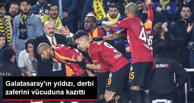 Galatasarayın yıldızı, derbi zaferini vücuduna kazıttı