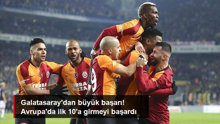 Galatasaray dan büyük başarı! Avrupa da ilk 10 a girmeyi başardı