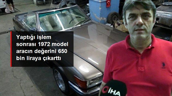 Bursalı kaporta ustası, 150 bin lira harcayarak 1972 model Mercedes'i ilk günkü haline çevirdi