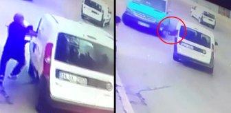 El frenini çekmeyi unuttuğu araç hareket edince camdan içeri atlayarak durdurdu