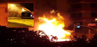 Beykoz'da bir otobüs alev alev yandı