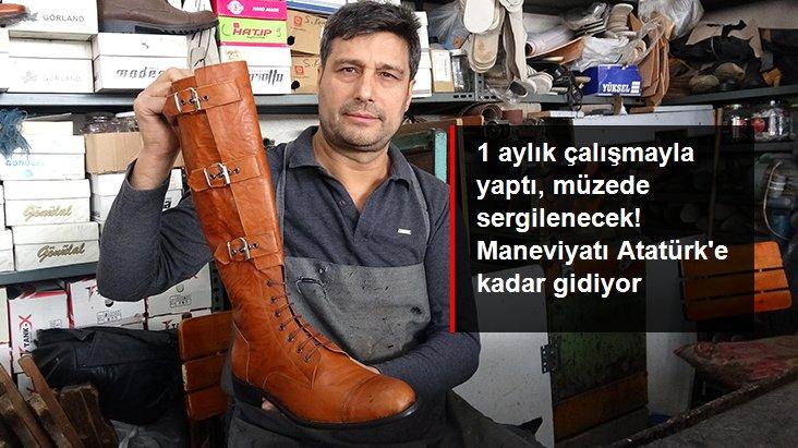 Aydınlı usta, 1 aylık çalışmayla Atatürk'ün de giydiği 1 asırlık çizmenin benzerini yaptı