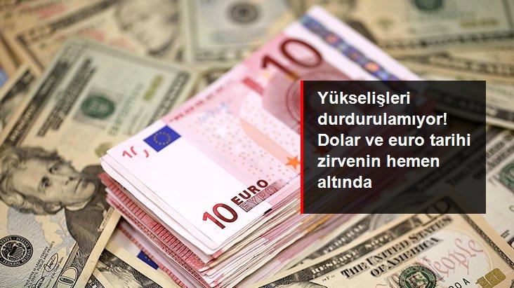 Yükselişlerini sürdüren dolar ve euro tarihi zirvenin hemen altında