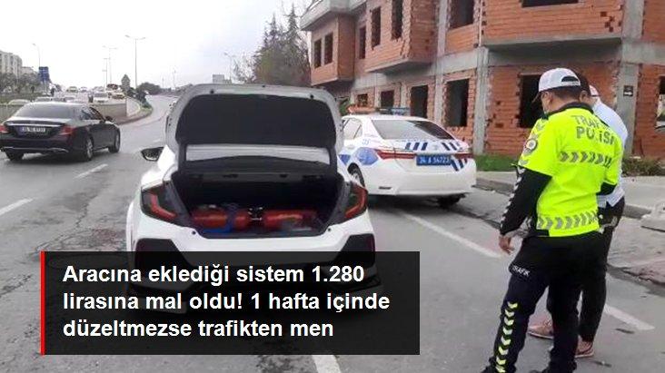 Nitrojen tüplü otomobile 1.280 lira ceza kesildi