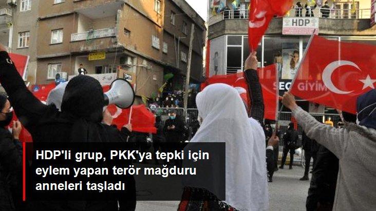 Şırnakta HDPli grup, PKKya tepki için eylem yapan terör mağduru anneleri taşladı