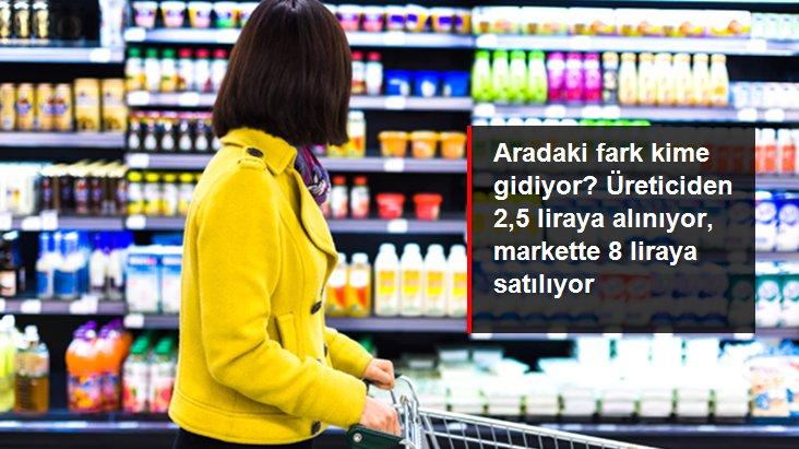 Üreticiden 2 lira 55 kuruşa alınan süt, marketlerde 7-8 liraya satılıyor