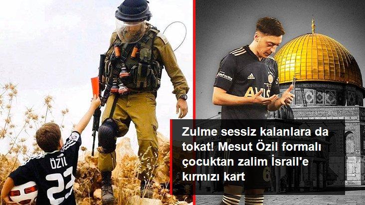Zulme sessiz kalanlara da tokat! Mesut Özil formalı çocuktan zalim İsrail e kırmızı kart