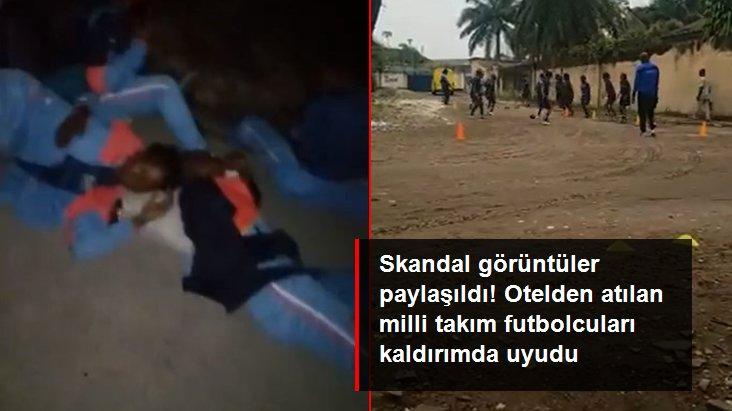 Skandal görüntüler paylaşıldı! Otelden atılan milli takım futbolcuları kaldırımda uyudu